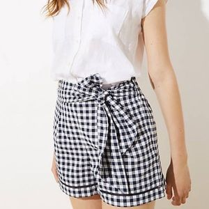 LOFT High Waisted Gingham Tie Front Shorts